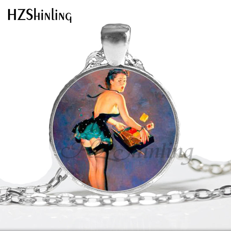 Vintage Art photo Pinup Girl Necklace Rockabilly  Kitsch, Retro Hard worker women Glass Art Pendant Necklace 25mm HZ1