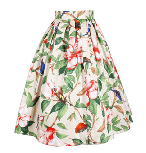 1960s Floral Print High Waist Cotton Skirt