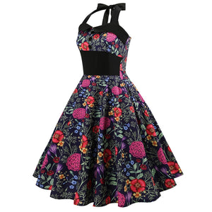 Womens Vintage Halter Floral Print Swing Dress Rockabilly A-Line Pin up Party Dress