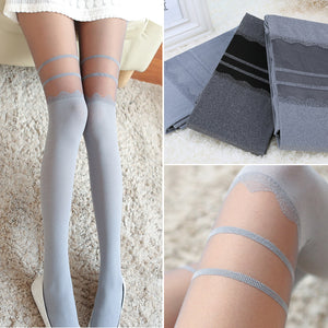 Cute Silver Grey Vintage Sexy Stockings Pantyhose