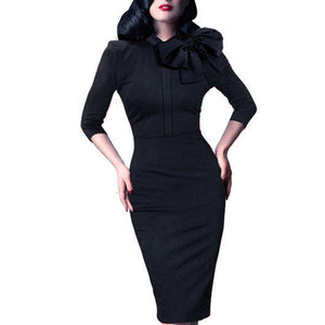 Mandarin Collar Bodycon Sheath Pencil Dress