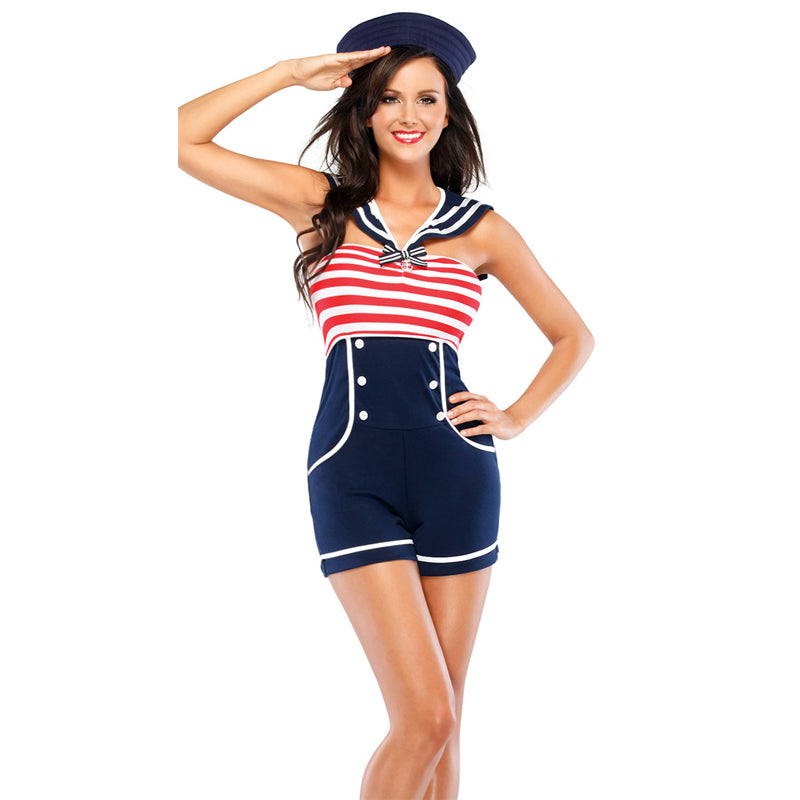 Womens Navy Pin Up Stripe Sailor Jumpsuit
