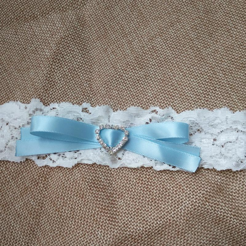 Wedding Garter Vintage Ribbon Bow Bridal Lace garter with Heart Rhinestone Leg Garter Stocking Suspender