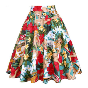 Vintage High Waist Western Girl Print Rockabilly Skirt