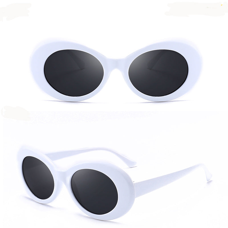 White Cat Eye Oval Sunglasses
