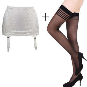 White Fashion Vintage Sexy Classic Metal Clips Garter Belt with Black stocking set for women/female/lady, Clothing accessories