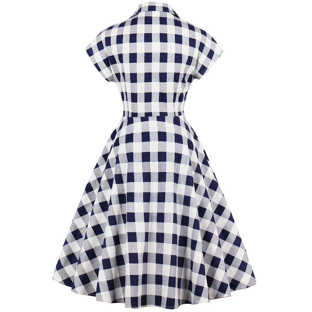 Blue and White Plaid Print Vintage Dress