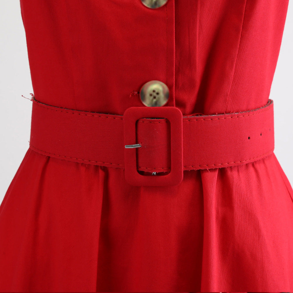 1950s Vintage Dress in Three Button with Square Collar