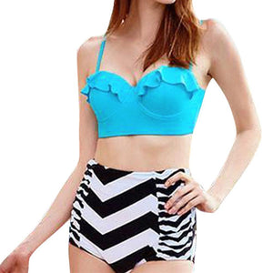 High Waist Ruffled Push Up Swimsuit