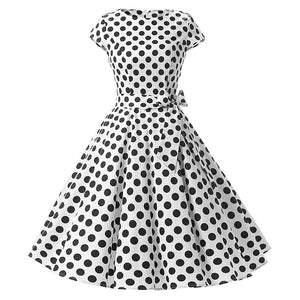 Polka Dot Bow Pinup Ball Gown Party Robe Dress