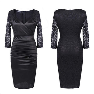 Vintage Rockabilly Lace Sleeve Pencil Sheath Dress