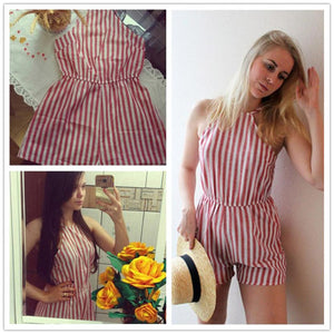 Womens Casual Red Striped Backless Jumpsuit Romper
