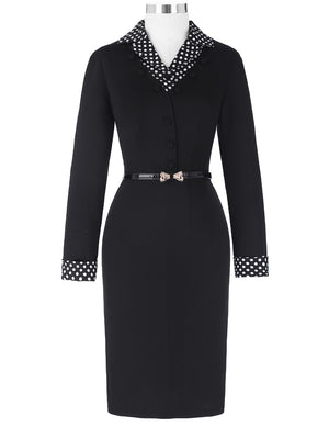Vintage Long Sleeve Lapel Collar Hips-Wrapped Bodycon Dress