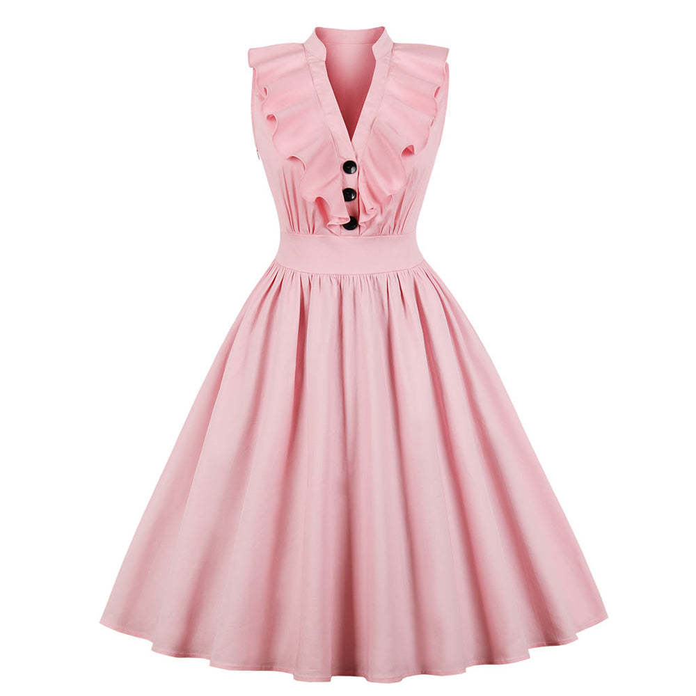 Womens Pink V Neck Pleated Summer Dress
