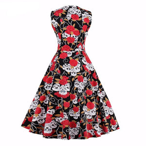Vintage 1950s Rockabilly Floral Skull Swing Dress
