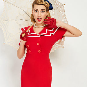 Women Dress Summer 2017 Retro Red  Knee Length Sailor Collar 1950s Vintage Dress Sexy A Line Button Pin UP Bodycon Party Dresses