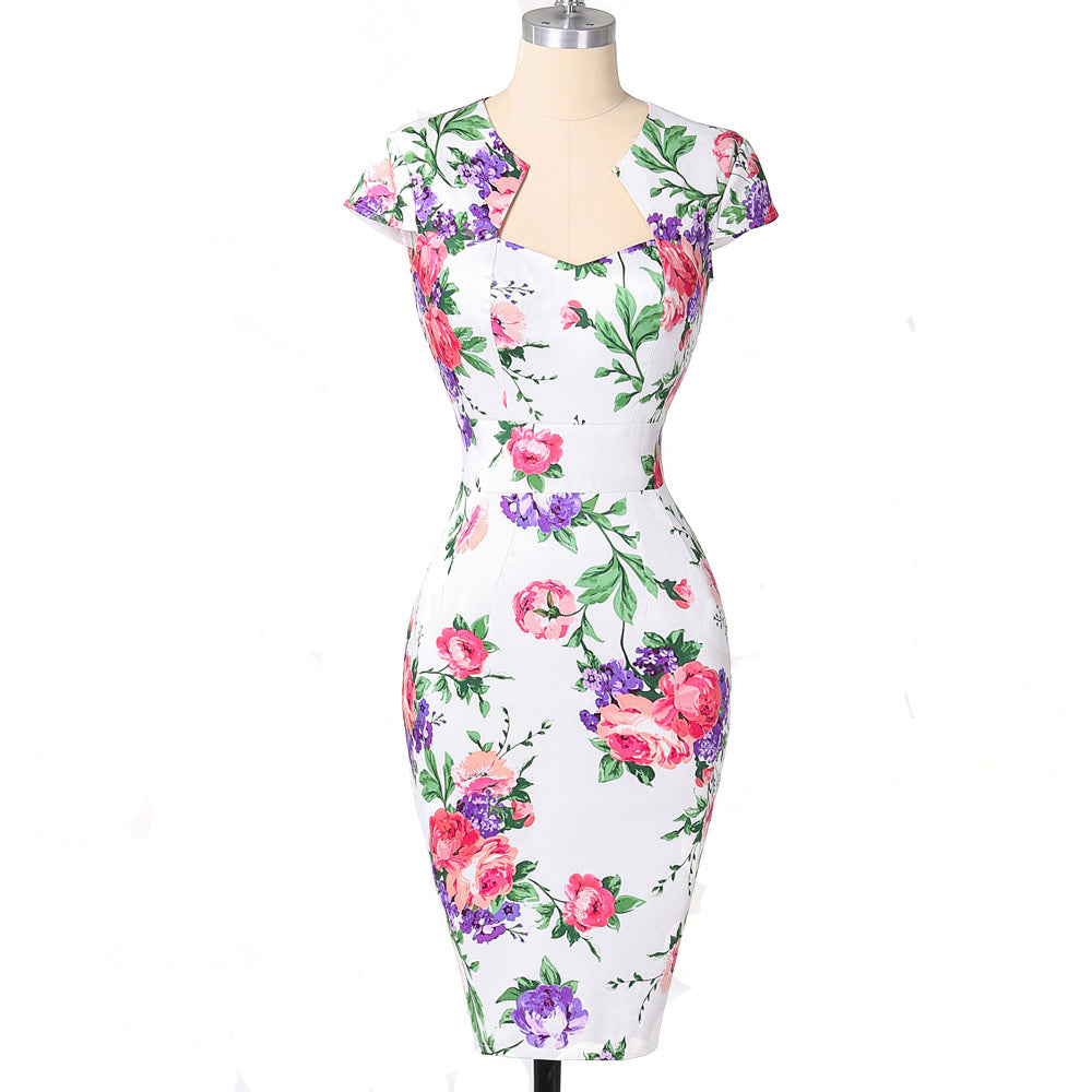 Womens Pencilled Dream Vintage Rockabilly Bodycon Pencil Dress