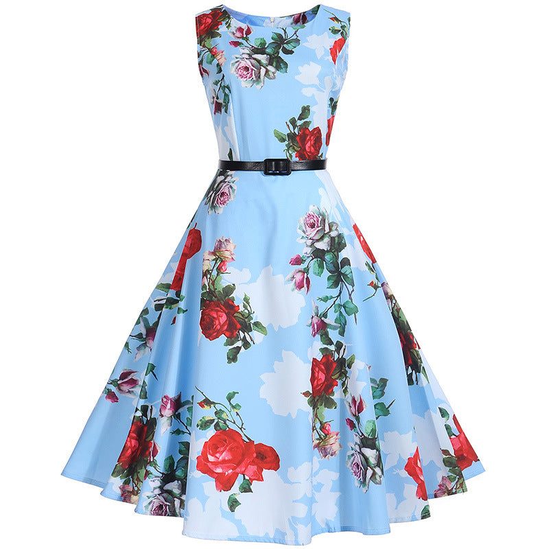 Women Floral Dress Summer Sexy 50s Rockabilly Vintage Dress