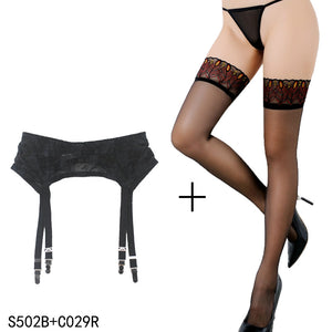 Garter Lace Vintage Black Metal Buckles with Stockings