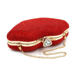 Red Rhinestones Metal Day Clutches