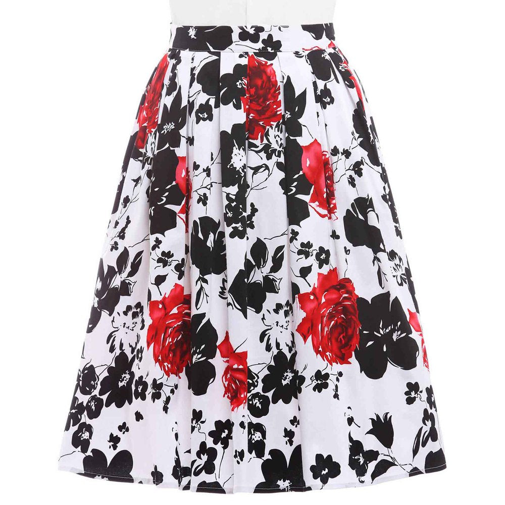 Women Midi Skirt 2017 High Waist Floral Polka Dots Pleated Skirts Summer Vintage Rockabilly 50S 60S Skirt Cotton Saia Faldas