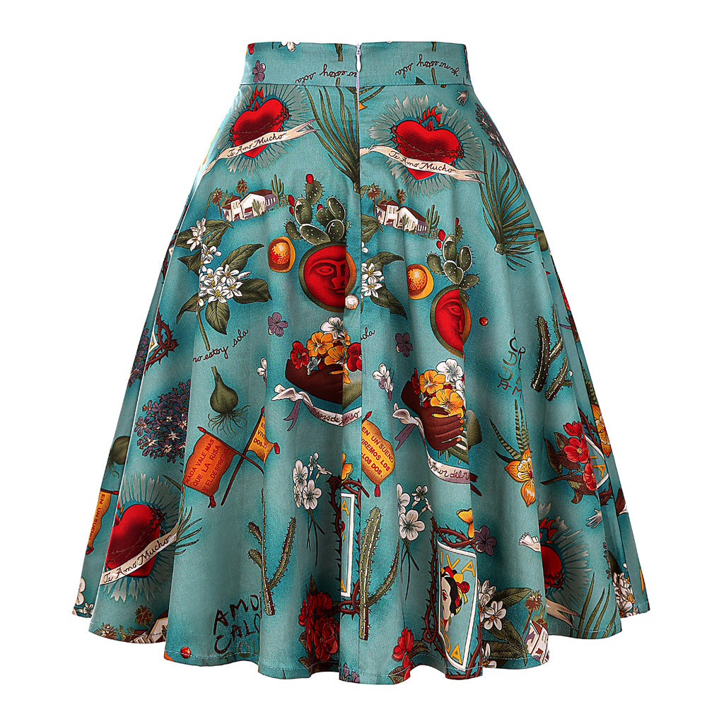 Vintage Elegant Print  Pleated High Waist Skirt