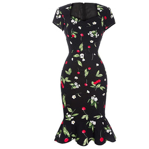 Floral Print Mermaid Bodycon Pencil Dress