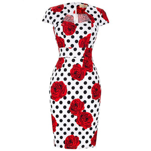 Vintage Pinup Bodycon Dress in Square Collar