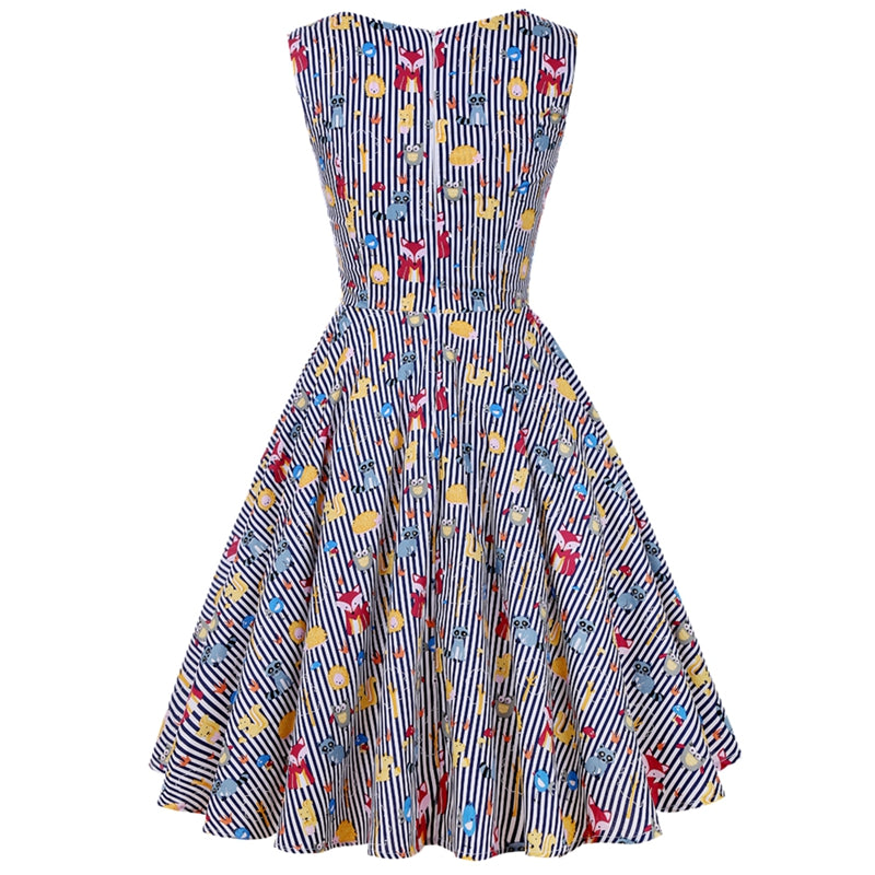 Vintage Dress Vivid Animals Print Stripe Flare Dress