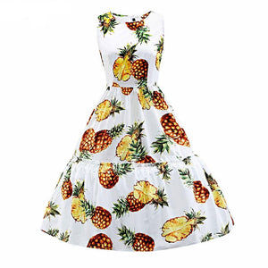Womens Pineapple Print Sleeveless Rockabilly Dress