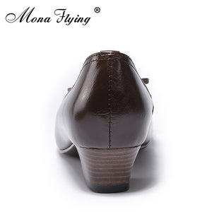 Genuine Leather Mid Heels Shoes
