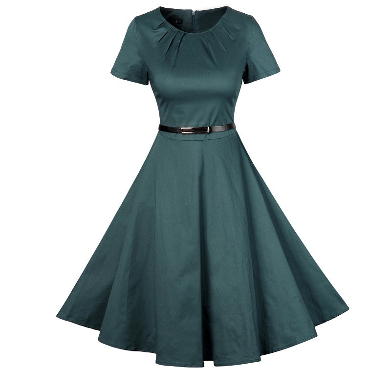 Draped Flare Vintage Cocktail Dress with Belt