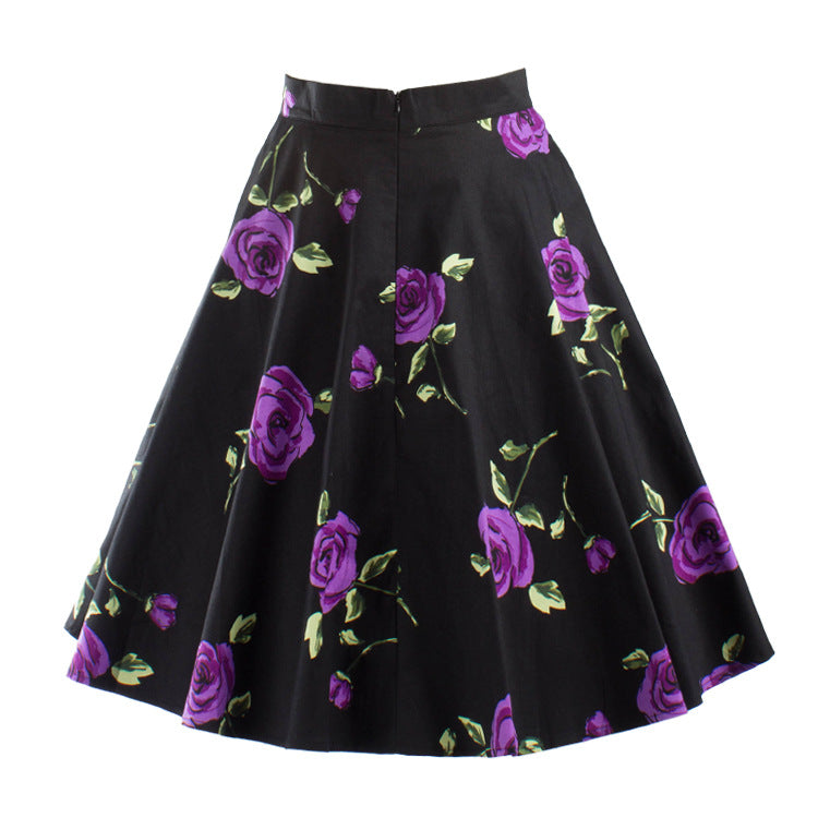 Black Vintage Rockabilly Skirt in Rose Print