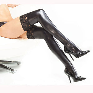 Leather Lace Knee High Vintage Stockings