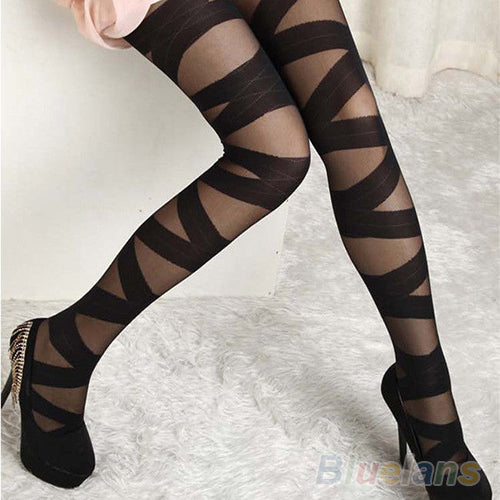 Women Sexy Pantyhose Black Ripped Stretch Vintage Tights  Mock Stocking  1F5I