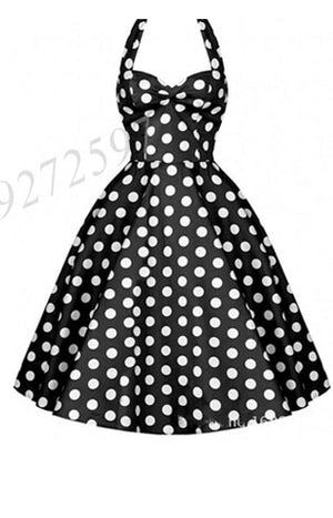 O-neck Dotted Retro Vintage Dress