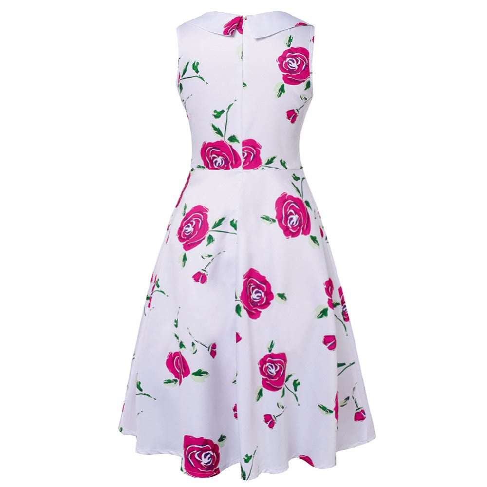 Womens Audrey Hepburn Floral 50s Vintage Rockabilly Dress