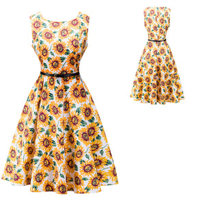 Vintage Rockabilly Classic Audrey Hepburn Floral Design Dress