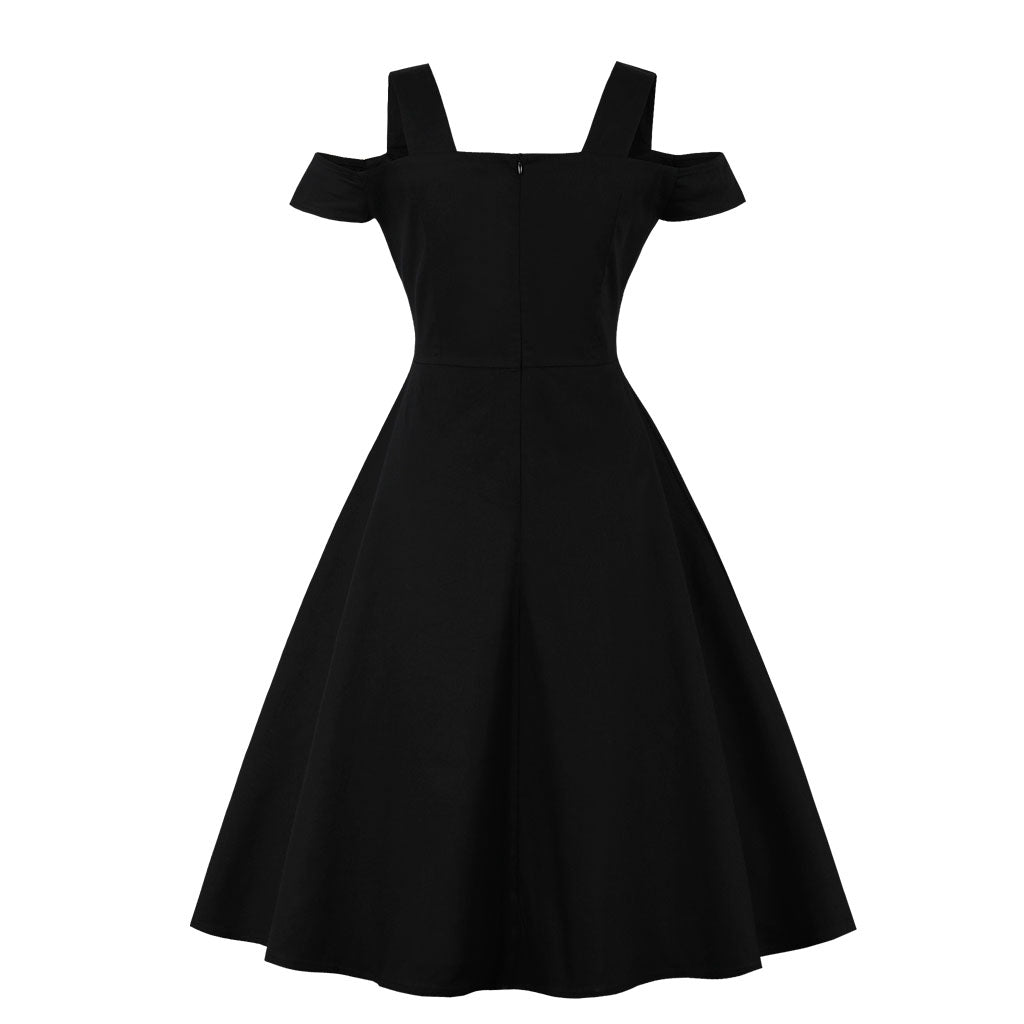 Rockabilly Casual Swing Dress in Off Shoulder