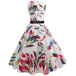 Womens Floral Print 1950s Vintage Rockabilly Pin Up Belt Sleeveless Party Dress