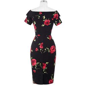 Off Shoulder Rose Print Bodycon Slim Pencil Dress