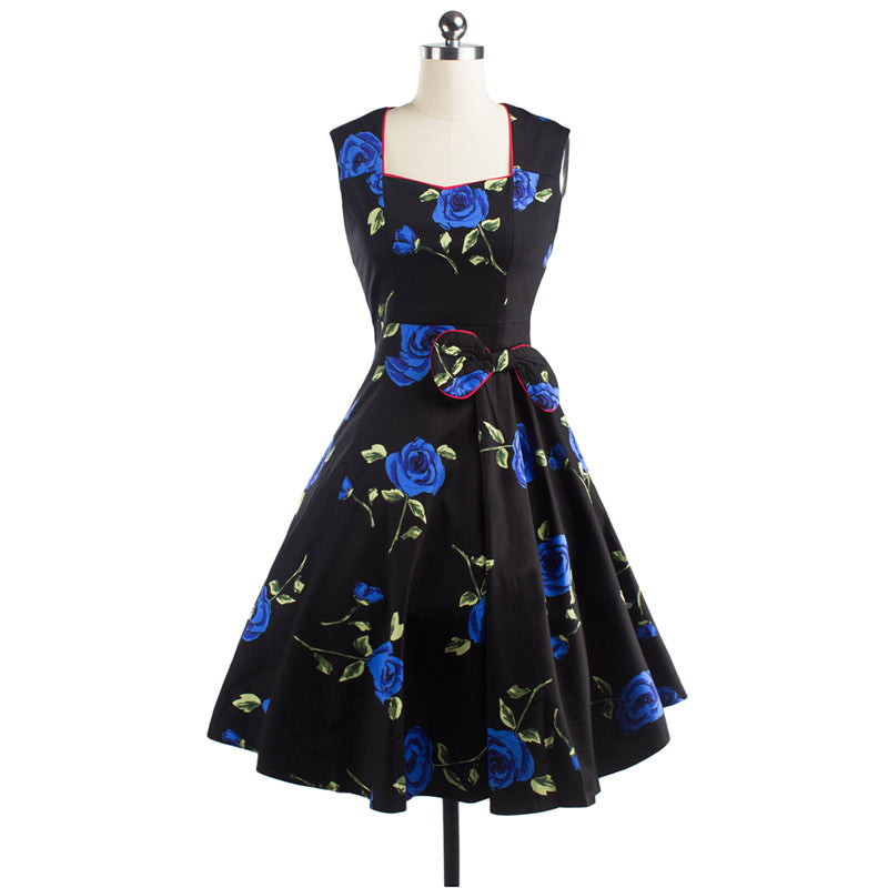 Black Dress in Rose Print Pinup Swing Dress