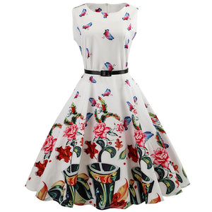 Womens Vintage Dress Sleeveless Summer Dress Retro Floral Print Belted Dress