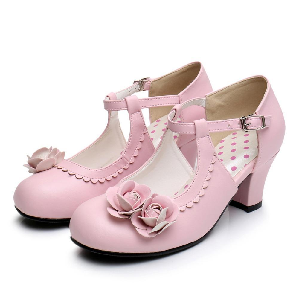 Medium Heel Round Toe Rose Decor School Girl Shoes
