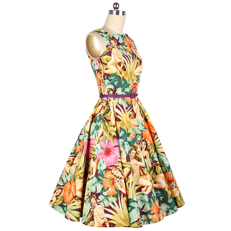 Vintage Sleeveless Belted Beach Girl Print  Dress