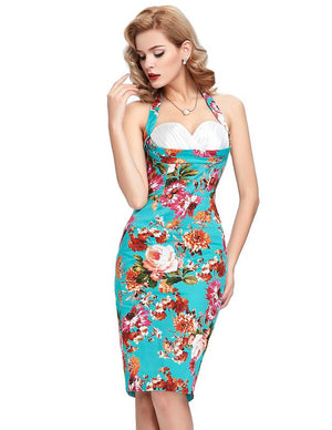 Rockabilly Style Halter Bodycon Pencil Dress