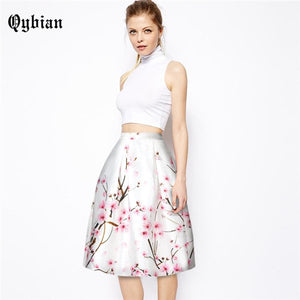 Women midi skirt 2017 Vintage Rockabilly Skirts 3D printing Flamingos skirts summer autumn