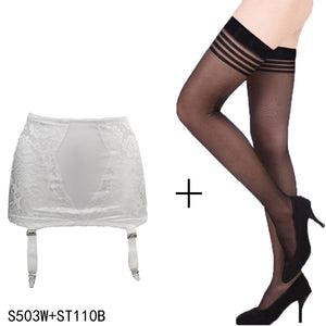 White Vintage 4 Wide Straps Sexy Metal Clips Garter Belts with Stockings