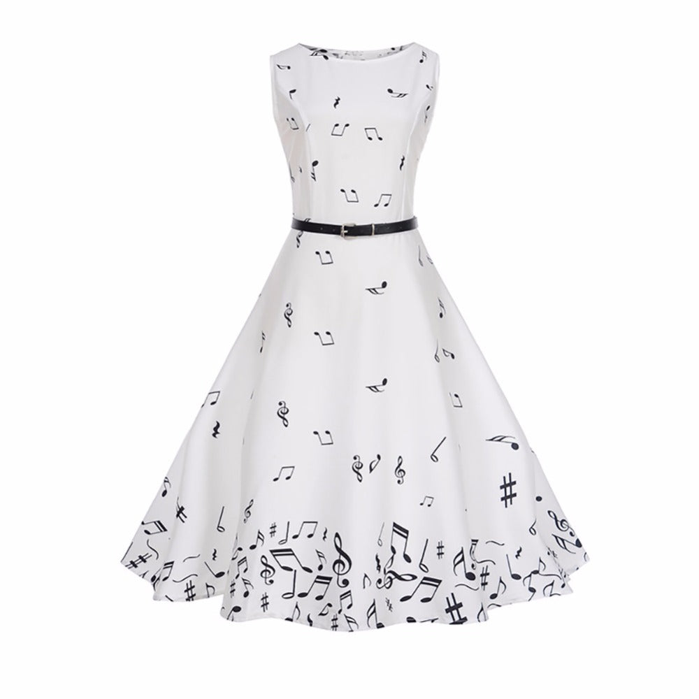 Womens Dancing Music Notes Swing Dress Audrey Hepburn A-Line O-Neck Dress with Belt