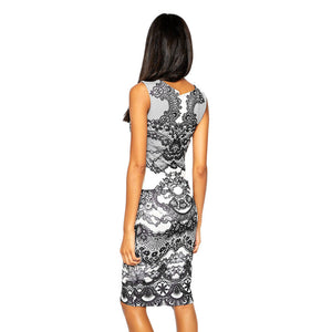 Vintage Rockabilly Floral Print Sheath Bodycon Pencil Dress
